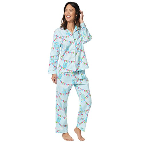The Cat's Pajamas Blue Owls on a Line Women's Flannel Pajama Large (Blue Cat Pajamas)