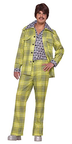 70's Theme Party Costume (GTH Men's Retro 70'S Plaid Leisure Suit Theme Party Costume, One Size)