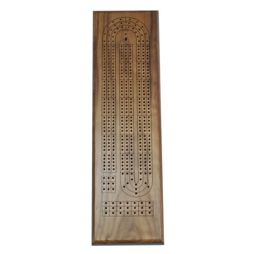 Classic Cribbage Set - Solid Walnut Wood Continuous 3 Track