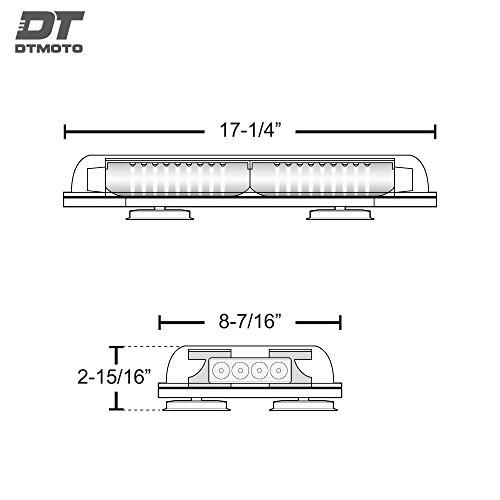 "16"" 132-Watt LED Mini Light Bar w/ 8 Modes, IP66 Waterproof and Magnetic Mount - Amber Warning Strobe Light Bars for Hazard, Emergency, Snow Plow Vehicles"