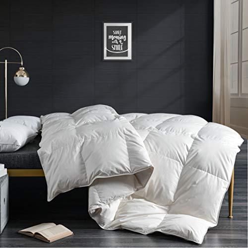 Apsmile 100 Organic Cotton Goose Down Comforter Queen Size All Seasons 750fp Medium Weight Luxurious Duvet Insert Ivory White