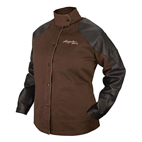 Black Stallion BSX BW9C/PS AngelFire Chocolate 9oz. Brushed Fire Resistant Cotton with Pigskin Grain Sleeves Welding Coat - X-Large