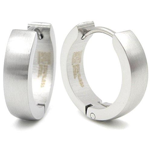 Pair Stainless Steel Brushed Hoop Men Earrings
