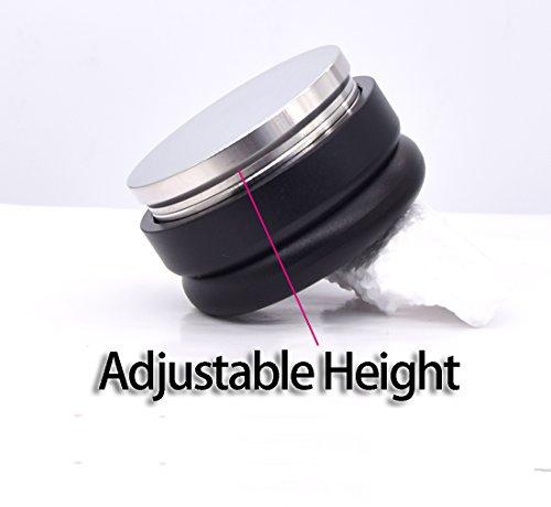 Coffee Tamper 58mm Stainless Steel Flat Base Adjustable Grip Handle Bean Barista Espresso Tamper Palm Pressure Kitchen Tool Accessories Machine(Black)