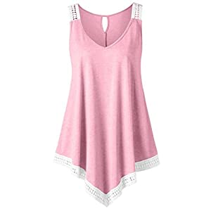 iTLOTL Fashion Womens Casual V-Neck Swing Lace Asymmetrical Solid Vest Tank Tops Blouse(US:10/CN:XL, Pink)