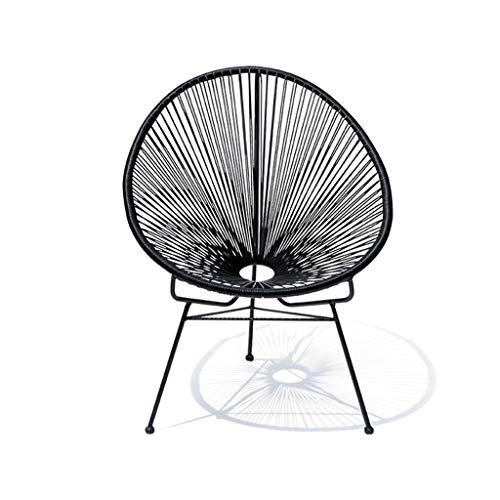 Meijiale Furniture Classic Chair Lightweight Small Footstoo Nordic Furniture Iron Cane Chair Outdoor Rattan Lounge Chair Cafe Chair Negotiating Chairs (Color : Blue) (Color : Black)