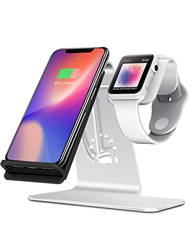 Price comparison product image Bestand 2 in 1 Phone Wireless Charging Stand & Charging Stand Holder for Apple iWatch/iPhone X/ 8 Plus /8-(Silver)
