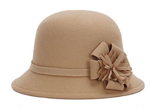 Brcus Women Warm Wool Felt Church Cloche Cap Bucket Hat Bowler Hats With Flower Band