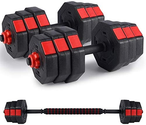 Kitclan Dumbbells Set, 44Lbs/66Lbs Adjustable Weight Set, Home Gym Equipment for Men Women Fitnrss Work Out Exercise Training Used as Barbells (Pair)