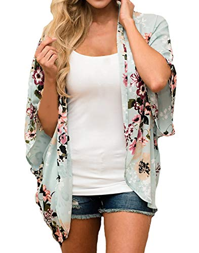 (Finoceans Womens Floral Chiffon Kimono Cardigans Loose Beach Cover Up Half Sleeve Tops (Large, Mint+Floral))