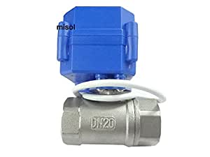 """MISOL 10PCS of motorized ball valve G3/4""""(BSP) DN20 / 12VDC / 2 way / electrical valve / ball valve with acuator / reduce port / CR01 / Stainless steel"""