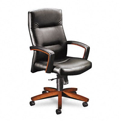 (HON 5001JSS11 5000 Series Executive High-Back Swivel and Tilt Chair, Black Leather/Henna)
