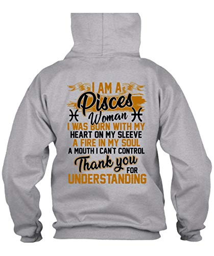 I Am A Pisces Woman Hoodies, I Love Pisces T Shirt-Hoodie (L, Sport Grey)