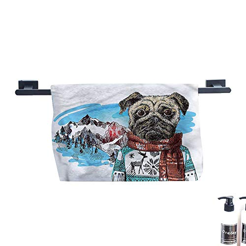 Dry Fast Towel,Pug,Sketch-Style-Dog-Doodle.,Gym Swim Hotel Use W 35.5
