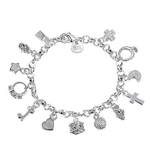 XBKPLO Bracelet for Women 925 Silver Star Key Round Chain Ankle Chain Dangling Accessories Jewelry ()