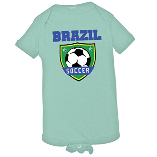 Baby Creeper Brazil World Soccer Badge Infant Body Suit Onsie - 18-24 Months - Chill