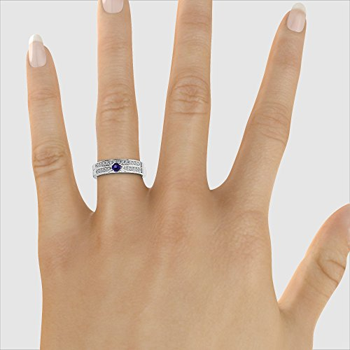 Or blanc 18carats 0,20CT G-H/VS Certifié Coupe ronde tanzanite et diamants Mariage Bague de fiançailles et ensemble de Agdr-1054