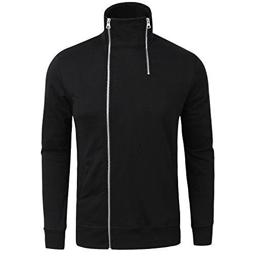 Manwan Walk Men's Cotton Full-Zip Fleece Hoodie Causal Thin Hoodies W141 (XX-Large, Black)