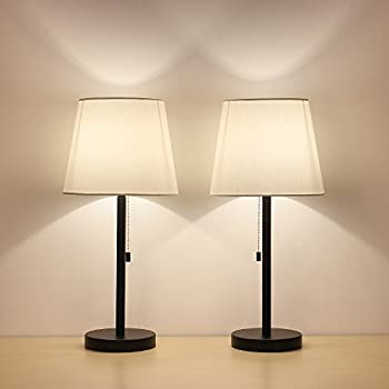 haitral table lamp set of 2 modern desk light black nightstand lamps