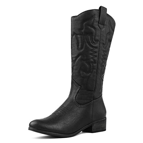 DREAM PAIRS Women's TEXS_H Black Mid Calf Western Bootie Winter Snow Boots Size 5.5 B(M) US for $<!--$32.39-->