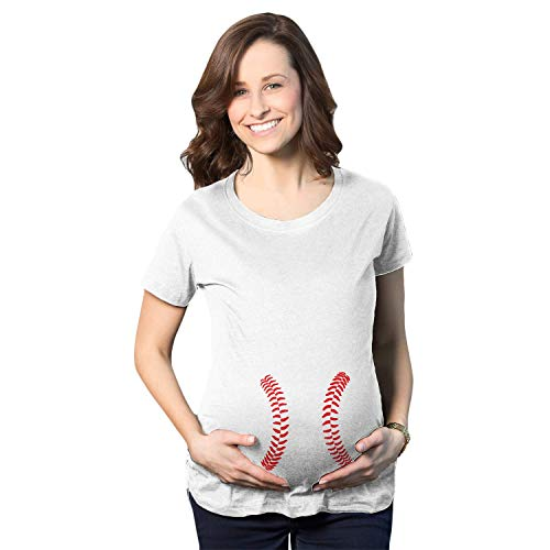 (Maternity Baseball Laces Pregnancy T Shirt Novelty Sports Baby Bump Tee (White) - L)