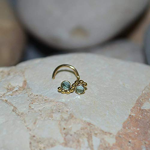 2mm Swiss Blue Topaz NOSE STUD // Gold Nose Ring - Tragus Earring Stud - Forward Helix Earring - Cartilage Stud - Nose Screw 18 gauge
