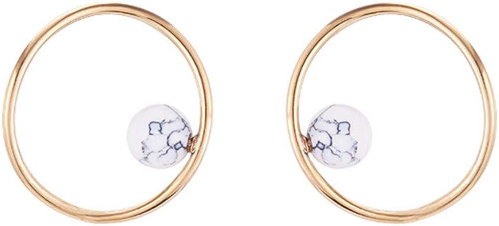 MEEOI Ear Stud Earrings Ear Hoop 925 de plata esterlina, círculo asimétrico blanco turquesa pendientes irregulares anillo