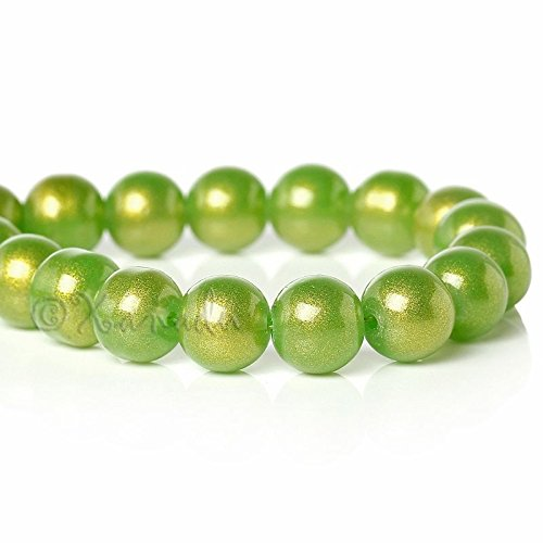 OutletBestSelling Pendant Bracelet Green Gold Dust Wholesale 10mm Round Glass Pearl Beads 200pcs