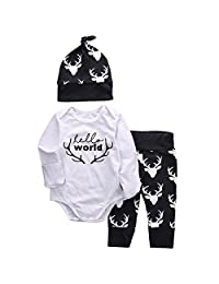 Hello World Letter Bodysuit and Deer Pants Hat Outfit for Baby Boys Girls