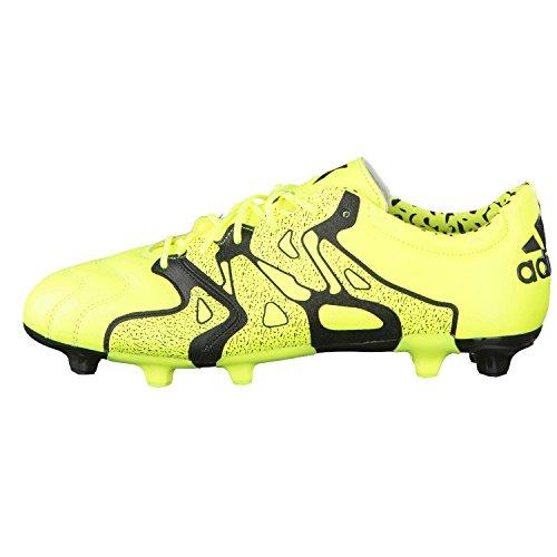 adidas Herren Fussballschuhe X 15.2 FG/AG Leder solar yellow/solar yellow/core black 39 1/3