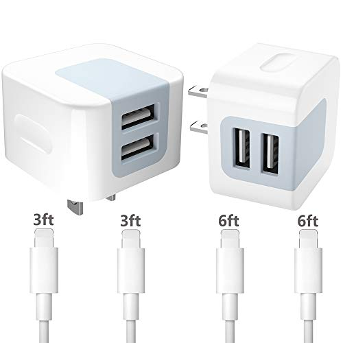 Chargers,Dodoli 2.4A Dual Port USB Wall Charger Block Power Adapter Plug Cube Box with 4-Pack Charging Cables Transfer Data Sync Compatible for iPhone 8 iPhone7 iPhone6 iPhone 5 iPad Mini. (D White)