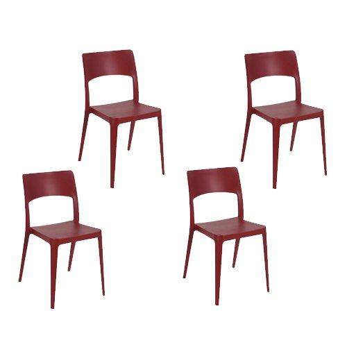Table Bordeaux Set - Tensai Vanity Chair in Bordeaux - Set of 4