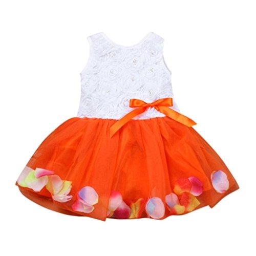 - Toddler Baby Girl Sundress Ruffle Floral Tutu Petals Tulle Skirt Bowknot Dresses (6-12 Months, Orange)