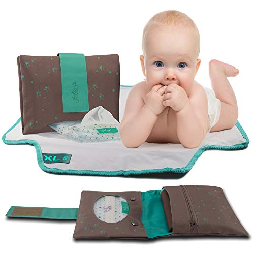 Extra Large Portable Changing Pad and Diaper Clutch, Travel Changing Station, Gift for Newborns and Toddlers