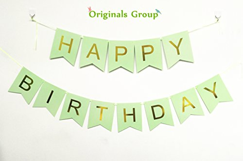Originals Group Mint Green Gold Foiled Star Happy Birthday Bunting Banner for Party Decoratins