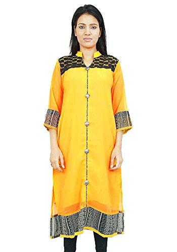 Diseñador de Bollywood Kurta Mujeres étnico Kurti ocasional superior de la túnica vestido Amarillo