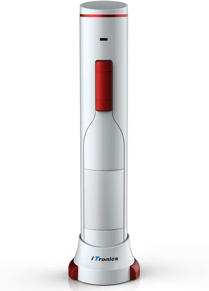 iTronics Sacacorchos Electrico Abridor Botellasde Vino Descorchador Recargable con Cable de Carga USB y Cortador de Cápsulas, Abre hasta 180 Botellas Cuando Está Completamente Cargada