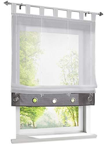 (86 York Home Fashion Roman Curtain - Tab Top Sheer Kitchen Balloon Window Curtain 1 Panel)