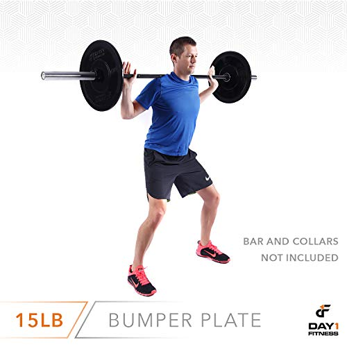 "Day 1 Fitness Olympic Bumper Weighted Plate 2"" for Barbells, Bars – 15 lb Single Plate - Shock-Absorbing, Minimal Bounce Steel Weights with Bumpers for Lifting, Strength Training, and Working Out by Day 1 Fitness (Image #7)"