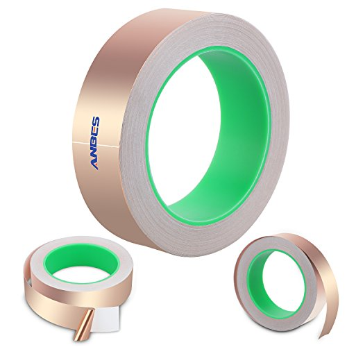 ANBES Copper Foil Tape, Double-sided Conductive Adhesive for Guitar, EMI Shielding, Slug Repellent, Stained Glass, Electrical Repairs, Paper Circuits, Soldering, Grounding
