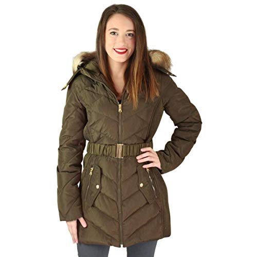 Jessica Simpson Women's Down Coat with Belt and Side Panel Details, Military, X-Large