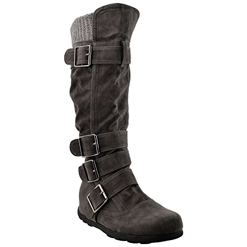womens-knee-high-boots-ruched-suede-knitted-calf-buckles-rubber-sole-charcoal-sz-11