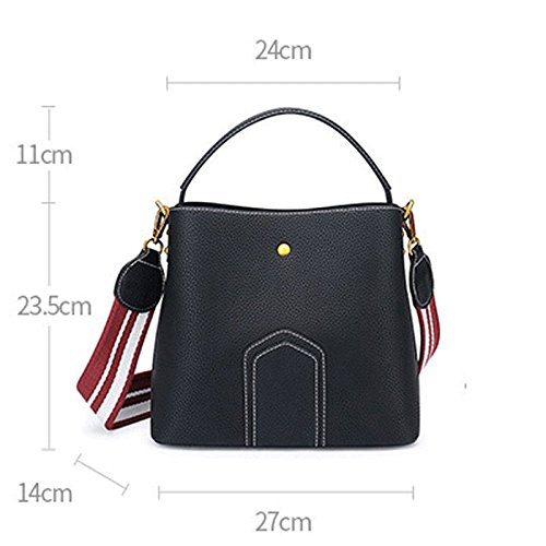 Bags Korean A Bucket Bag B Lady Shoulder Large Fashion Bag Ms Bag JIUTE Wide Shoulder Bag Messenger Color Shoulder Wave Messenger Strap n1PBgXzxw