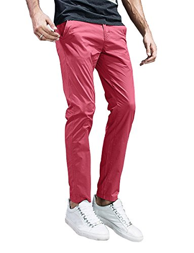 Match Mens Slim-Tapered Flat-Front Casual Pants (32, 8105 (Pink Chino)