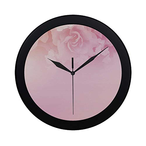 (C COABALLA Light Pink Circular Plastic Wall Clock,Rose Petals in Soft Pastel Tones Romantic Bridal Floral Valentines Graphic Artwork Decorative for Home,9.65