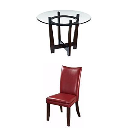 Charmant Amazon.com: Ashley Furniture Signature Design   Charrell 5 Piece Dining  Room Table Set   Includes Round Glass Table U0026 4 Upholstered Chairs   Red:  Kitchen U0026 ...