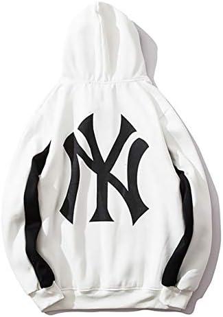 ユニセックスMLB NYユニフォームパーカースウェットシャツレジャー長袖フリーススポーツ野球プルオーバーメンズレディース,白,L