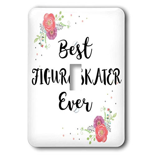 3dRose InspirationzStore - Love Series - Floral Best Figure Skater Ever watercolor pink flowers ice skating - 2 plug outlet cover (lsp_317262_6)