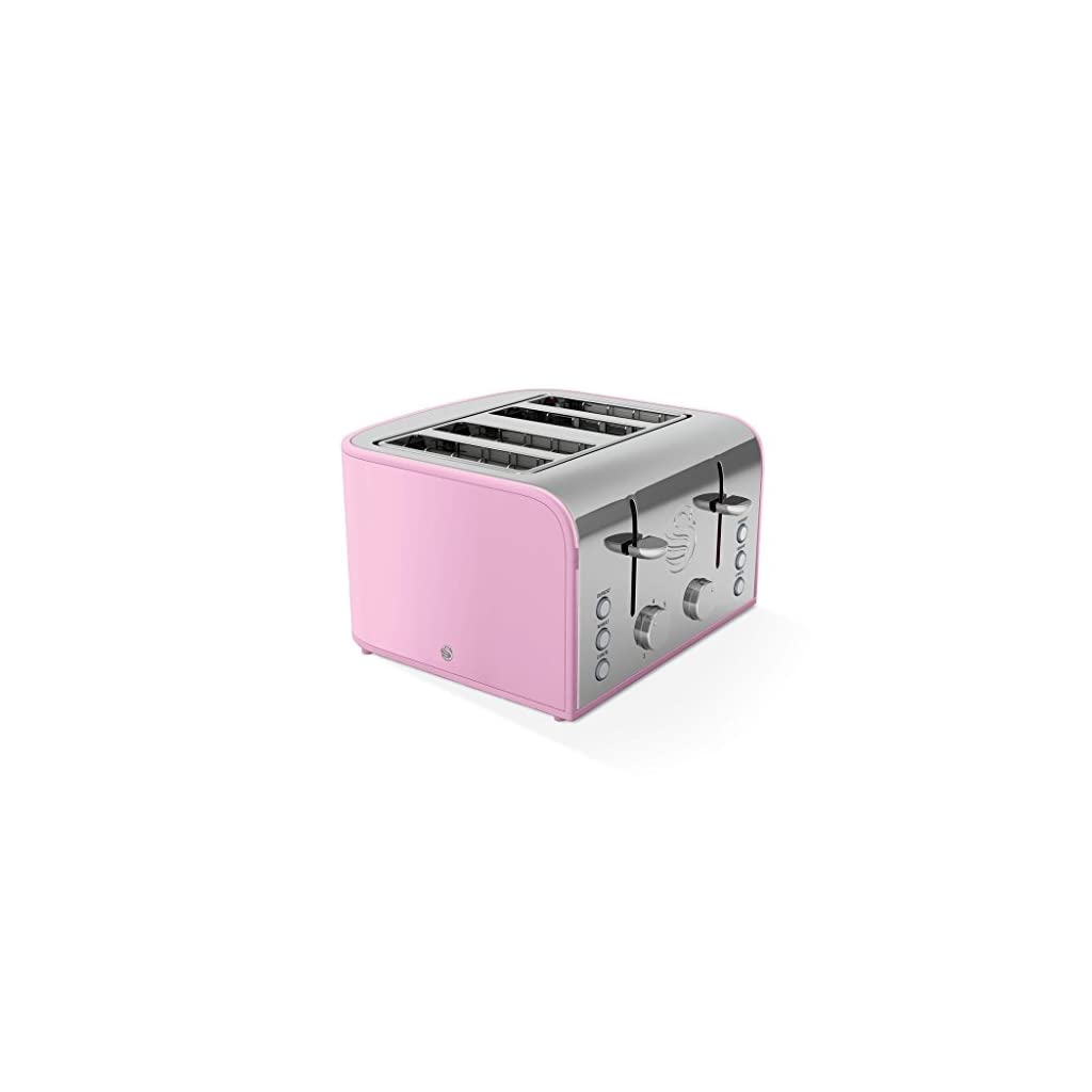 Swan ST17010PN 4-Slice Retro Toaster, 1600 W, Pink