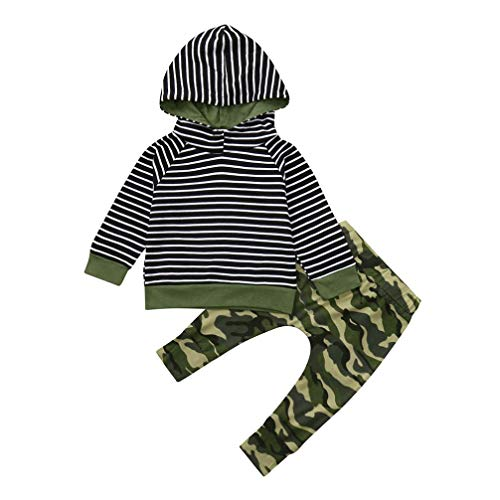 2pcs Clothes Set Toddler Infant Baby Boys Girls Hooded Sweatshirt Striped Tops Pockets Camouflage Pants 0-3T (Camouflage, 3T(2-3 Years)) by Aritone - Baby Clothes (Image #6)